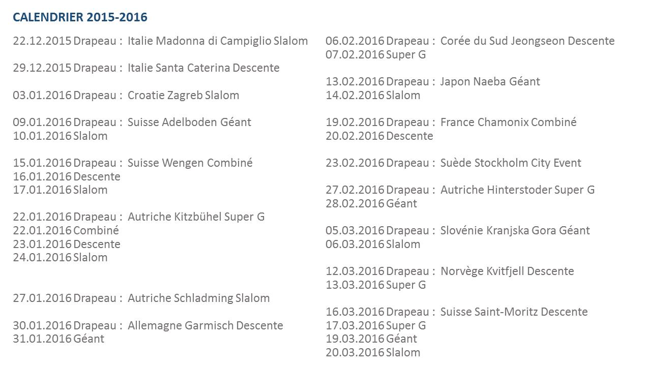 Eurosport canalsat suisse - Coupe du monde ski alpin 2015 calendrier ...